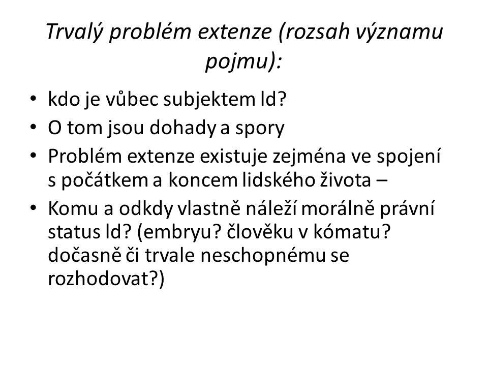 Trvalý problém extenze (rozsah významu pojmu): kdo je vůbec subjektem ld? O tom jsou dohady a spory Problém extenze existuje zejména ve spojení s počá