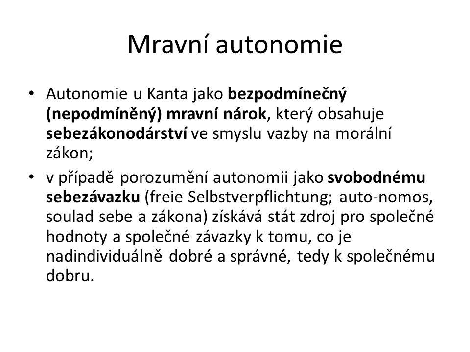 Mravní autonomie Autonomie u Kanta jako bezpodmínečný (nepodmíněný) mravní nárok, který obsahuje sebezákonodárství ve smyslu vazby na morální zákon; v