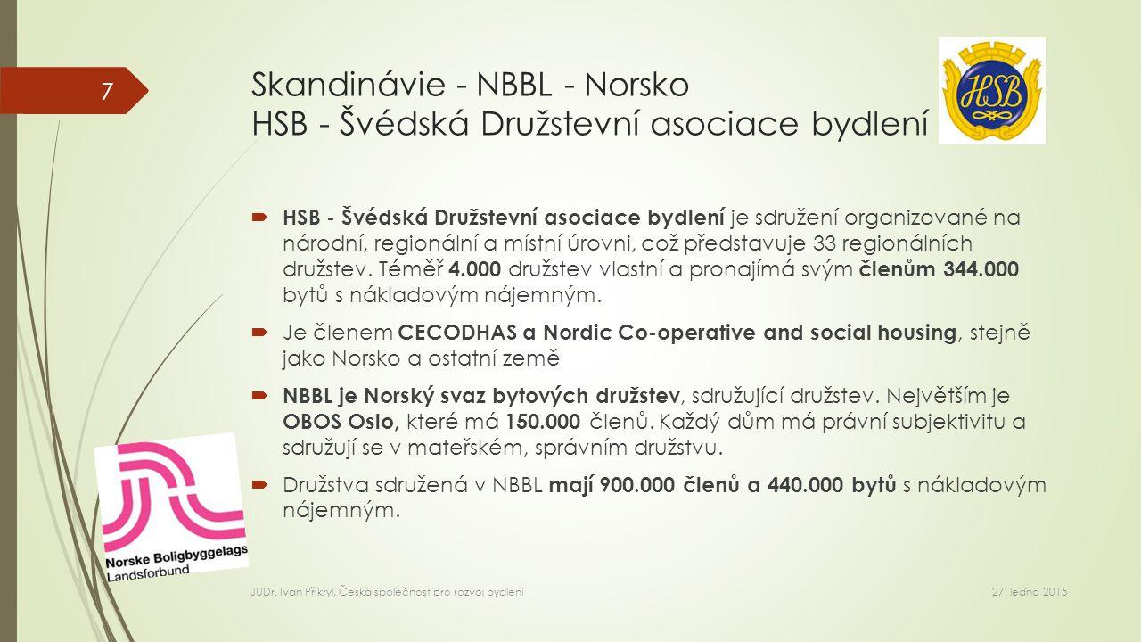 Skandinávie - NBBL - Norsko HSB - Švédská Družstevní asociace bydlení  HSB - Švédská Družstevní asociace bydlení je sdružení organizované na národní, regionální a místní úrovni, což představuje 33 regionálních družstev.