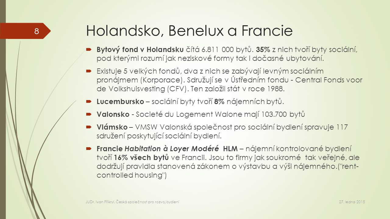 Holandsko, Benelux a Francie  Bytový fond v Holandsku čítá 6.811 000 bytů.
