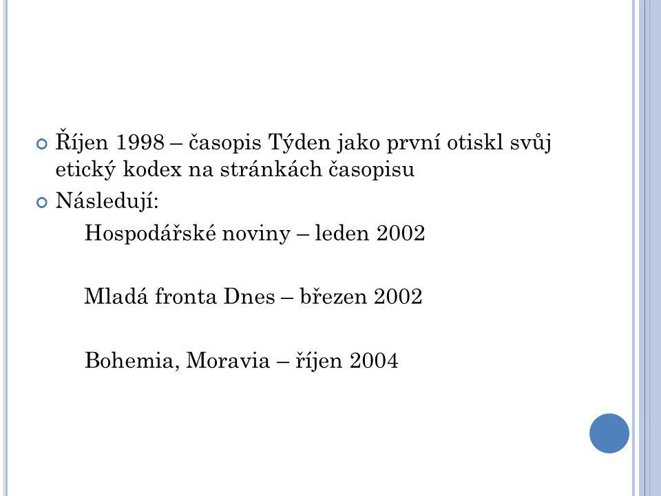 Říjen 1998 – časopis Týden jako první otiskl svůj etický kodex na stránkách časopisu Následují: Hospodářské noviny – leden 2002 Mladá fronta Dnes – březen 2002 Bohemia, Moravia – říjen 2004