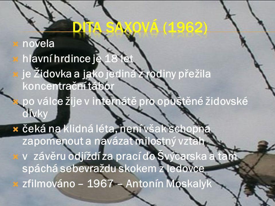  novela  hlavní hrdince je 18 let  je Židovka a jako jediná z rodiny přežila koncentrační tábor  po válce žije v internátě pro opuštěné židovské dívky  čeká na klidná léta, není však schopna zapomenout a navázat milostný vztah  v závěru odjíždí za prací do Švýcarska a tam spáchá sebevraždu skokem z ledovce  zfilmováno – 1967 – Antonín Moskalyk