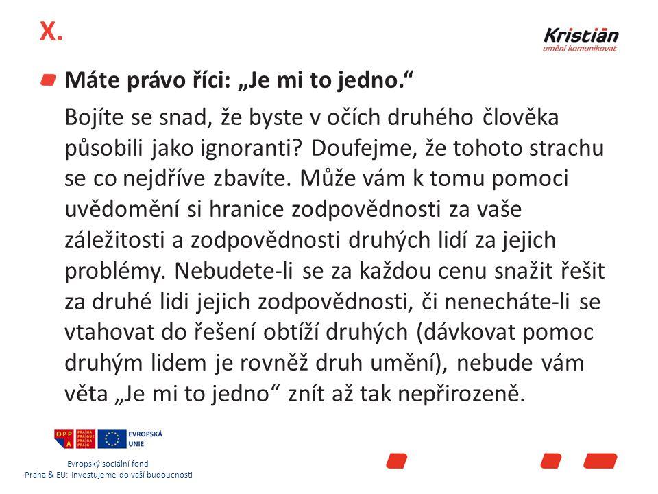 Evropský sociální fond Praha & EU: Investujeme do vaší budoucnosti X.