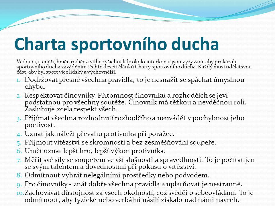 Charta sportovního ducha Vedoucí, trenéři, hráči, rodiče a vůbec všichni lidé okolo interkrosu jsou vyzýváni, aby prokázali sportovního ducha zaváděním těchto deseti článků Charty sportovního ducha.