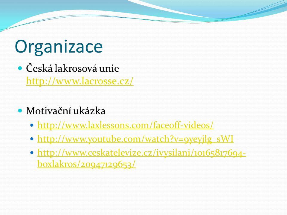 Organizace Česká lakrosová unie http://www.lacrosse.cz/ http://www.lacrosse.cz/ Motivační ukázka http://www.laxlessons.com/faceoff-videos/ http://www.