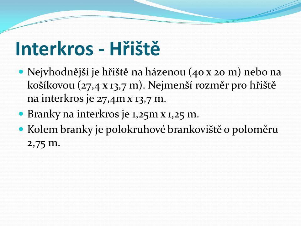 Interkros - Hřiště Nejvhodnější je hřiště na házenou (40 x 20 m) nebo na košíkovou (27,4 x 13,7 m). Nejmenší rozměr pro hřiště na interkros je 27,4m x