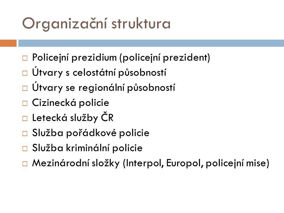 Organizační struktura  Policejní prezidium (policejní prezident)  Útvary s celostátní působností  Útvary se regionální působností  Cizinecká policie  Letecká služby ČR  Služba pořádkové policie  Služba kriminální policie  Mezinárodní složky (Interpol, Europol, policejní mise)
