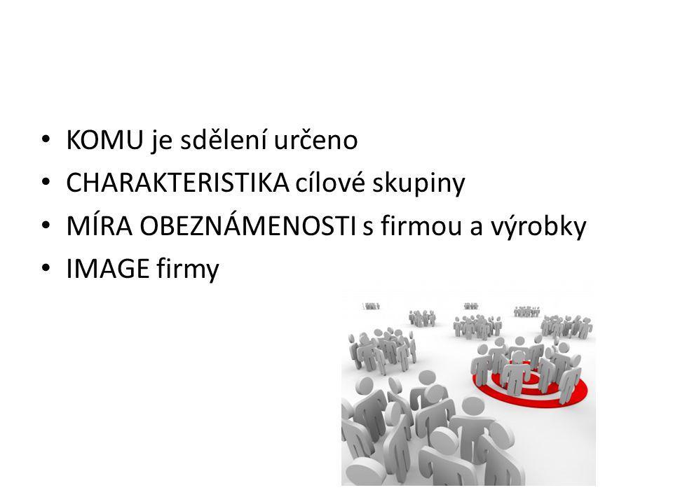 KOMU je sdělení určeno CHARAKTERISTIKA cílové skupiny MÍRA OBEZNÁMENOSTI s firmou a výrobky IMAGE firmy