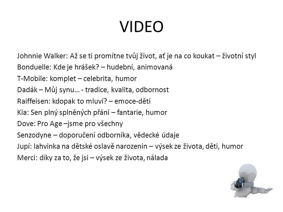 VIDEO Johnnie Walker: Až se ti promítne tvůj život, ať je na co koukat – životní styl Bonduelle: Kde je hrášek? – hudební, animovaná T-Mobile: komplet