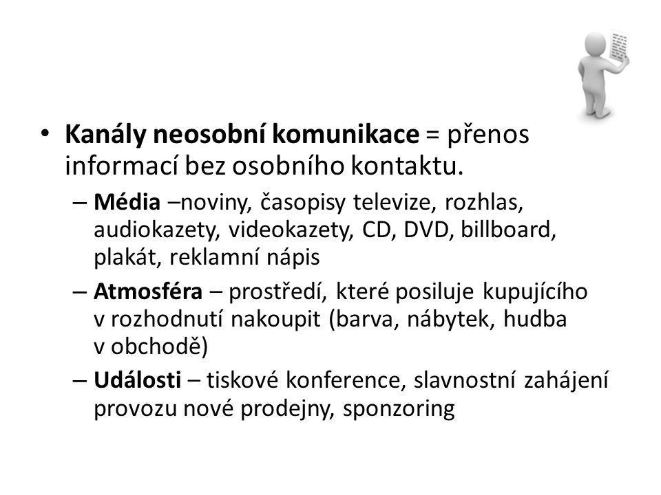 Kanály neosobní komunikace = přenos informací bez osobního kontaktu. – Média –noviny, časopisy televize, rozhlas, audiokazety, videokazety, CD, DVD, b