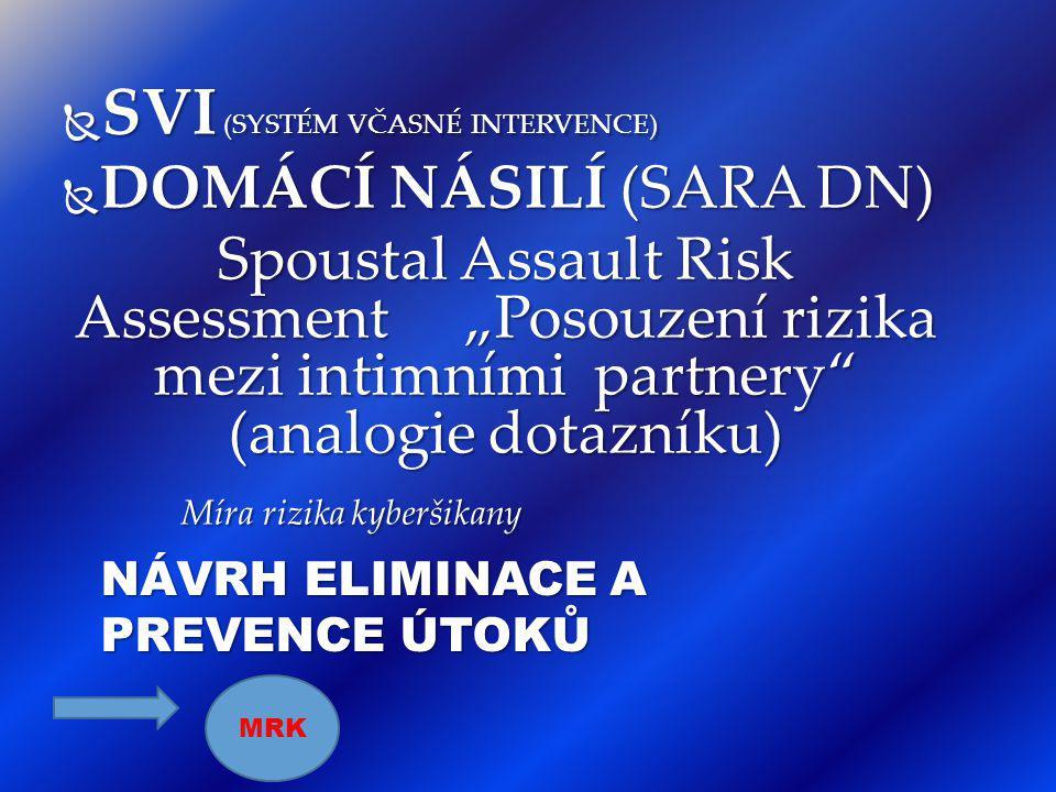 """ SVI (SYSTÉM VČASNÉ INTERVENCE)  DOMÁCÍ NÁSILÍ (SARA DN) Spoustal Assault Risk Assessment """"Posouzení rizika mezi intimními partnery"""" (analogie dotaz"""