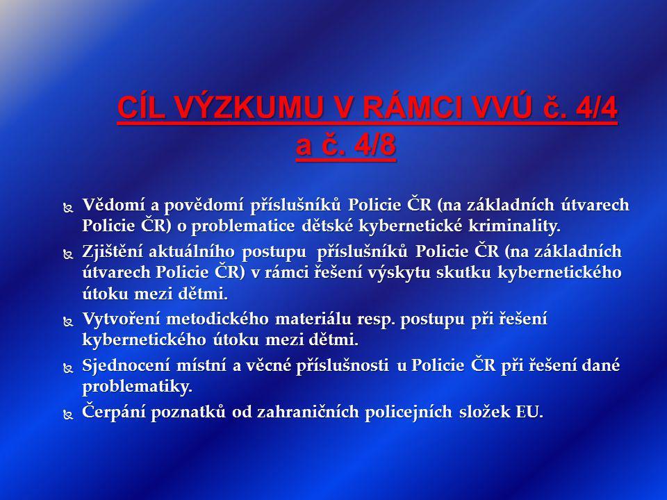 CÍL VÝZKUMU V RÁMCI VVÚ č. 4/4 a č. 4/8 CÍL VÝZKUMU V RÁMCI VVÚ č. 4/4 a č. 4/8  Vědomí a povědomí příslušníků Policie ČR (na základních útvarech Pol
