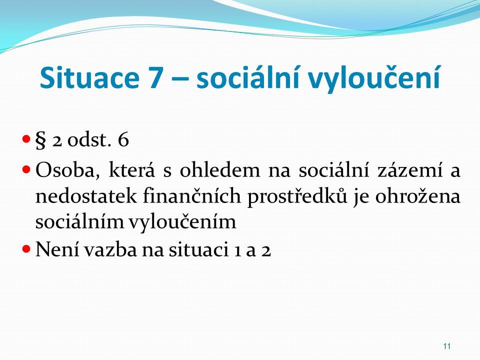 Situace 7 – sociální vyloučení § 2 odst. 6 Osoba, která s ohledem na sociální zázemí a nedostatek finančních prostředků je ohrožena sociálním vyloučen