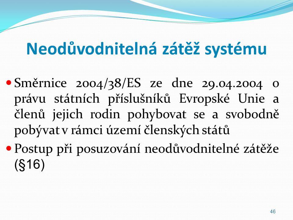 Neodůvodnitelná zátěž systému Směrnice 2004/38/ES ze dne 29.04.2004 o právu státních příslušníků Evropské Unie a členů jejich rodin pohybovat se a svo