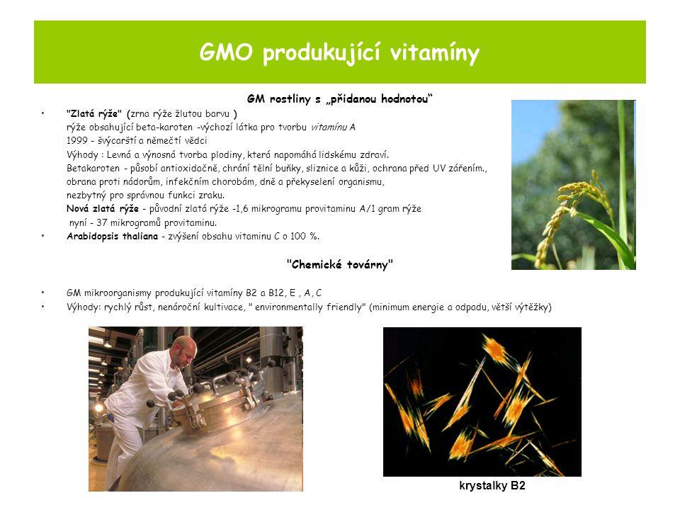 """GMO produkující vitamíny GM rostliny s """"přidanou hodnotou Zlatá rýže (zrna rýže žlutou barvu ) rýže obsahující beta-karoten -výchozí látka pro tvorbu vitamínu A 1999 - švýcarští a němečtí vědci Výhody : Levná a výnosná tvorba plodiny, která napomáhá lidskému zdraví."""