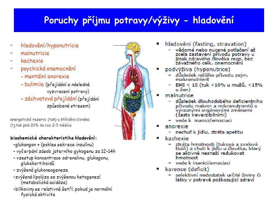 Poruchy příjmu potravy/výživy - hladovění hladovění/hyponutricie malnutricie kachexie psychická onemocnění - mentální anorexie - bulimiie (přejídání a