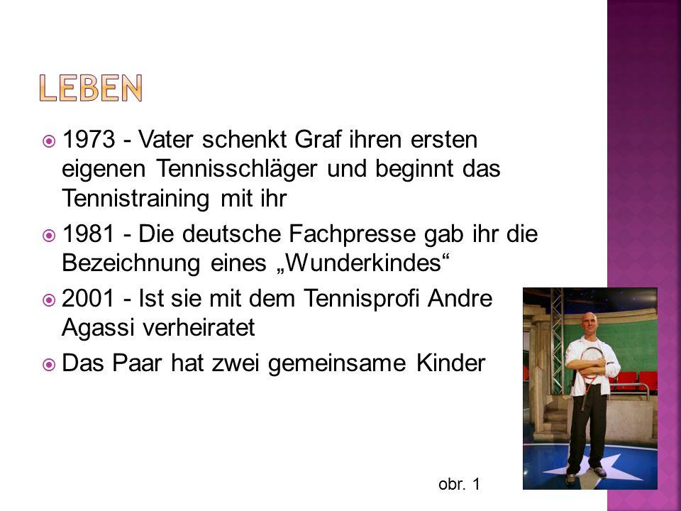  1973 - Vater schenkt Graf ihren ersten eigenen Tennisschläger und beginnt das Tennistraining mit ihr  1981 - Die deutsche Fachpresse gab ihr die Be