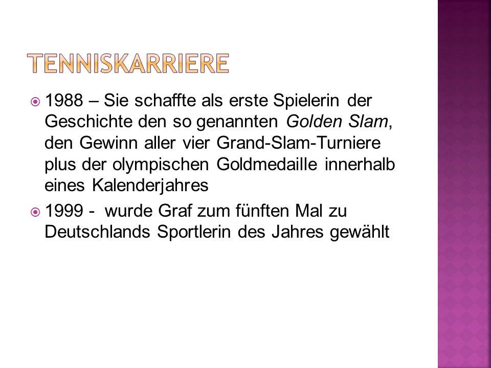  1988 – Sie schaffte als erste Spielerin der Geschichte den so genannten Golden Slam, den Gewinn aller vier Grand-Slam-Turniere plus der olympischen