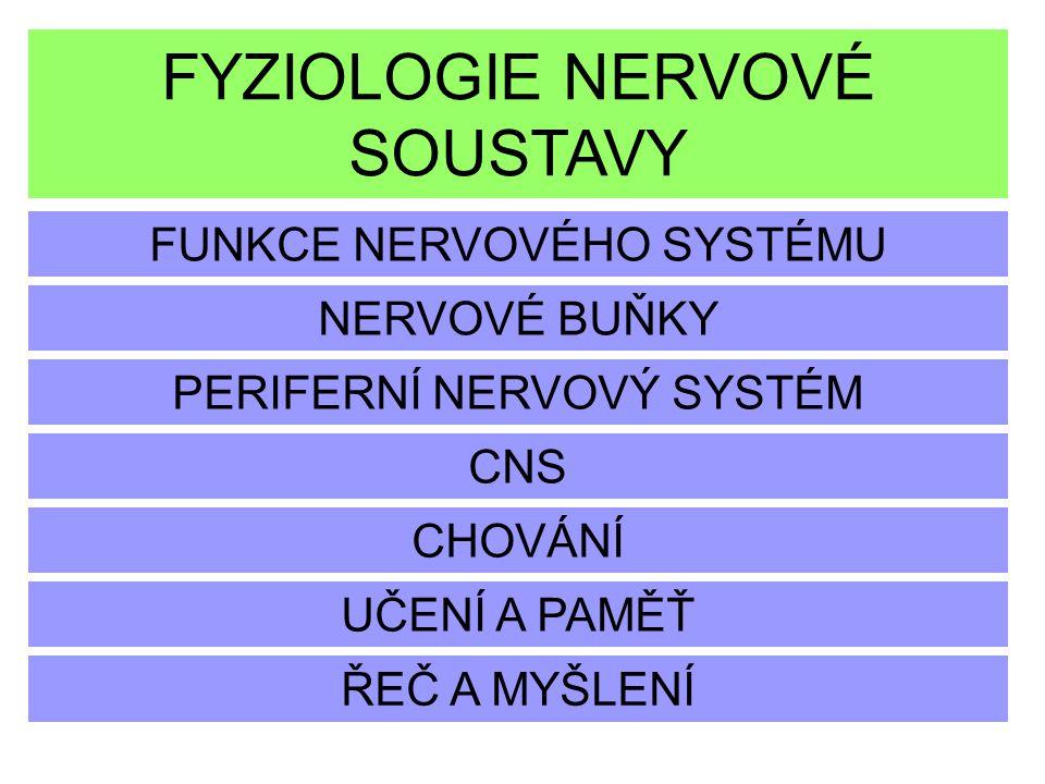 FYZIOLOGIE NERVOVÉ SOUSTAVY FUNKCE NERVOVÉHO SYSTÉMU NERVOVÉ BUŇKY PERIFERNÍ NERVOVÝ SYSTÉM CHOVÁNÍ CNS UČENÍ A PAMĚŤ ŘEČ A MYŠLENÍ