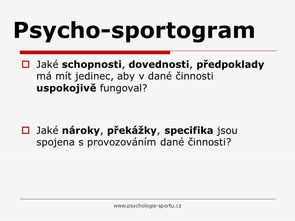 Psycho-sportogram  Jaké schopnosti, dovednosti, předpoklady má mít jedinec, aby v dané činnosti uspokojivě fungoval?  Jaké nároky, překážky, specifi