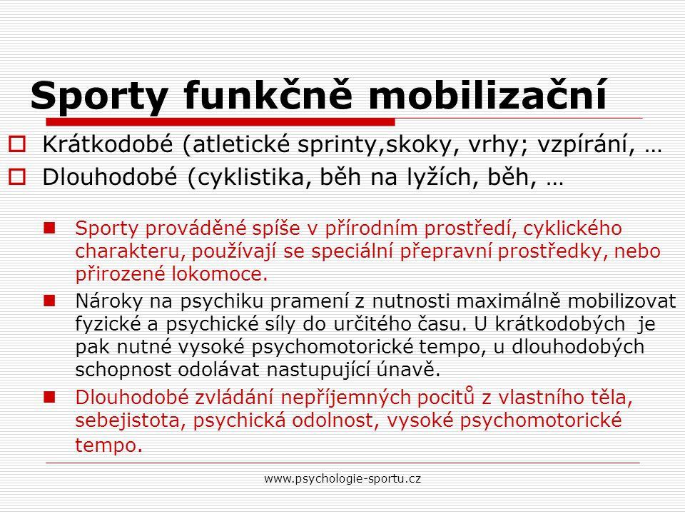 www.psychologie-sportu.cz Sporty funkčně mobilizační  Krátkodobé (atletické sprinty,skoky, vrhy; vzpírání, …  Dlouhodobé (cyklistika, běh na lyžích,