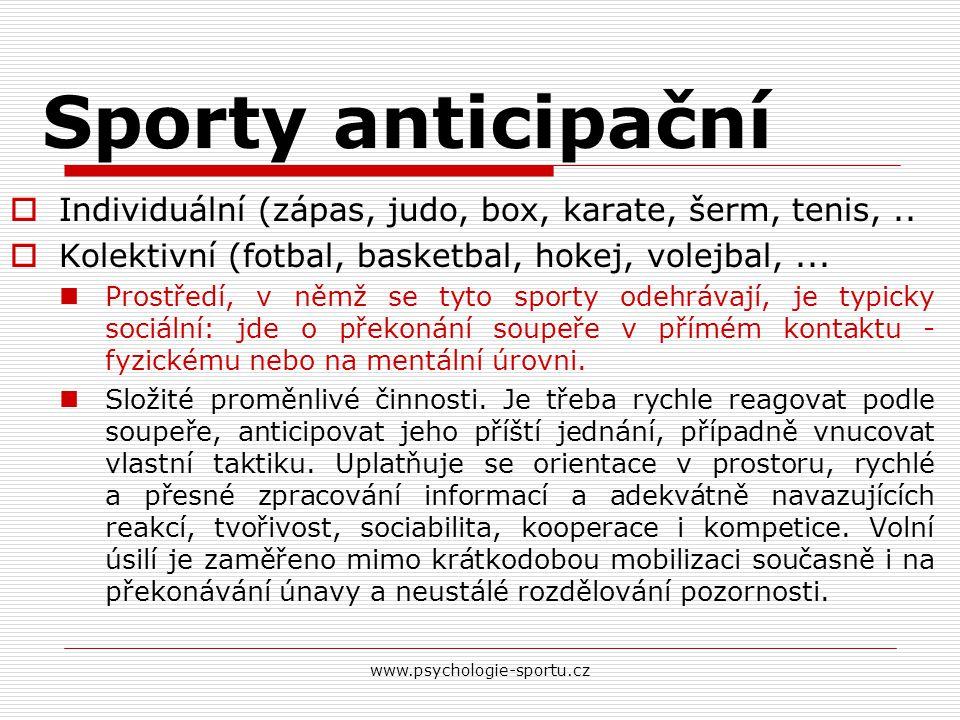 www.psychologie-sportu.cz Sporty anticipační  Individuální (zápas, judo, box, karate, šerm, tenis,..  Kolektivní (fotbal, basketbal, hokej, volejbal