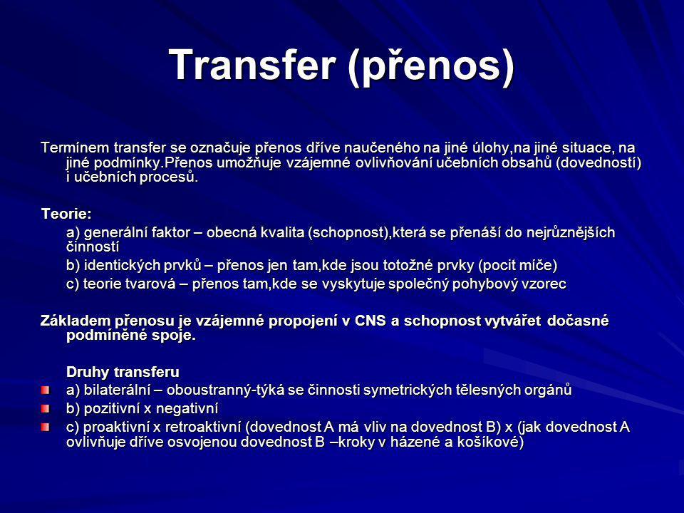 Transfer (přenos) Termínem transfer se označuje přenos dříve naučeného na jiné úlohy,na jiné situace, na jiné podmínky.Přenos umožňuje vzájemné ovlivňování učebních obsahů (dovedností) i učebních procesů.