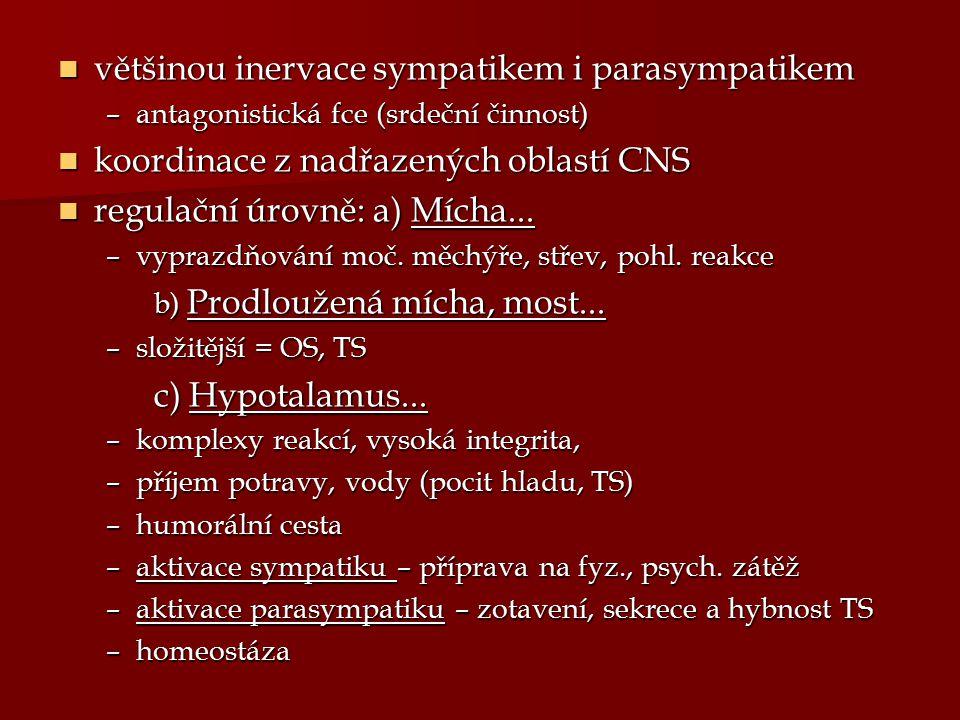 většinou inervace sympatikem i parasympatikem většinou inervace sympatikem i parasympatikem –antagonistická fce (srdeční činnost) koordinace z nadřaze