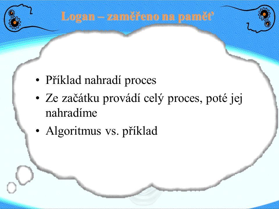 Logan – zaměřeno na paměť Příklad nahradí proces Ze začátku provádí celý proces, poté jej nahradíme Algoritmus vs. příklad