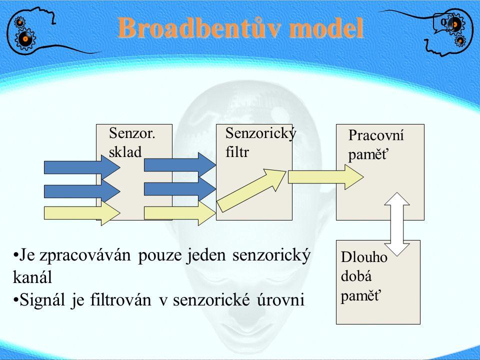 Broadbentův model Dlouho dobá paměť Pracovní paměť Senzorický filtr Senzor. sklad Je zpracováván pouze jeden senzorický kanál Signál je filtrován v se