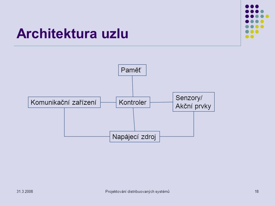 Architektura uzlu 31.3.2008Projektování distribuovaných systémů18 Paměť Kontroler Senzory/ Akční prvky Komunikační zařízení Napájecí zdroj