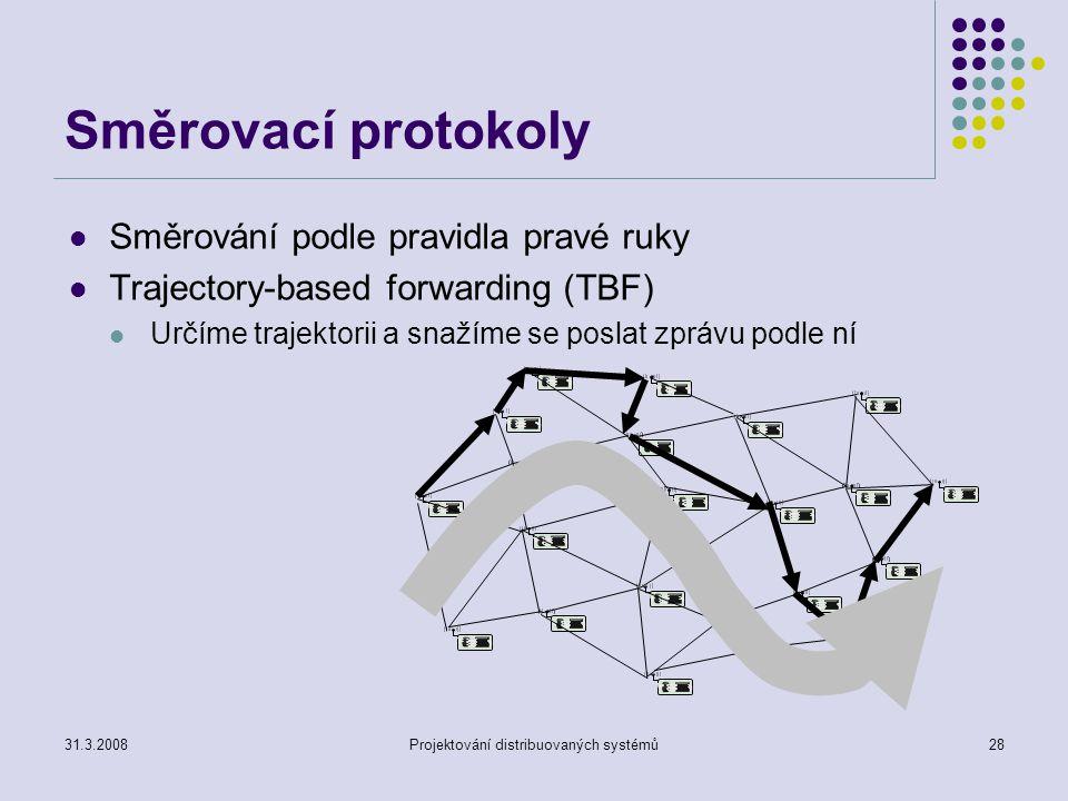 Směrovací protokoly Směrování podle pravidla pravé ruky Trajectory-based forwarding (TBF) Určíme trajektorii a snažíme se poslat zprávu podle ní 31.3.2008Projektování distribuovaných systémů28