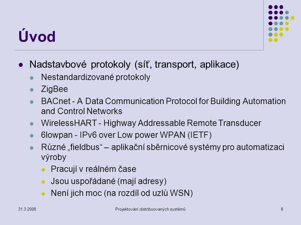 Úvod Nadstavbové protokoly (síť, transport, aplikace) Nestandardizované protokoly ZigBee BACnet - A Data Communication Protocol for Building Automatio