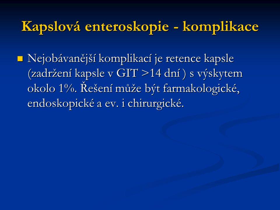 Kapslová enteroskopie - komplikace Nejobávanější komplikací je retence kapsle (zadržení kapsle v GIT >14 dní ) s výskytem okolo 1%. Řešení může být fa