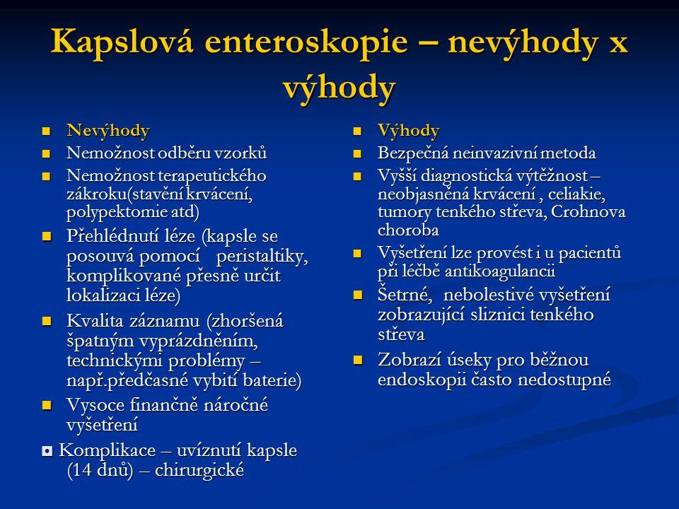 Kapslová enteroskopie – nevýhody x výhody Nevýhody Nevýhody Nemožnost odběru vzorků Nemožnost odběru vzorků Nemožnost terapeutického zákroku(stavění k