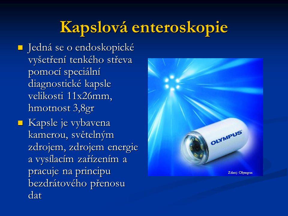 Kapslová enteroskopie Jedná se o endoskopické vyšetření tenkého střeva pomocí speciální diagnostické kapsle velikosti 11x26mm, hmotnost 3,8gr Jedná se