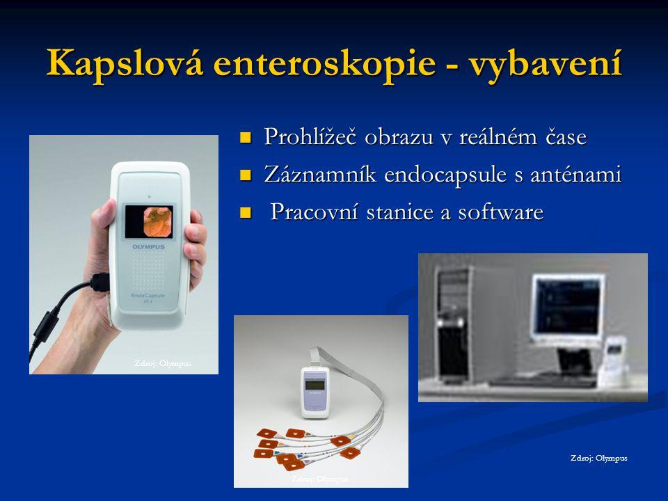 Kapslová enteroskopie - vybavení Prohlížeč obrazu v reálném čase Záznamník endocapsule s anténami Pracovní stanice a software Zdroj: Olympus