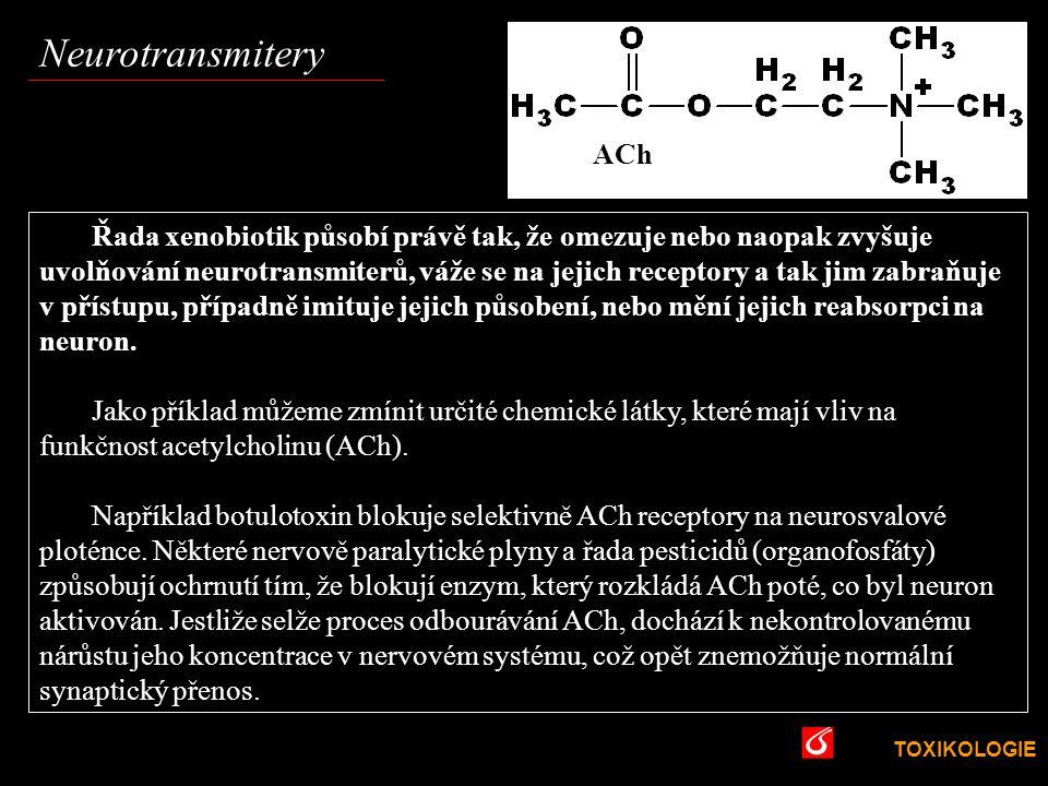 TOXIKOLOGIE VŠCHT Praha Řada xenobiotik působí právě tak, že omezuje nebo naopak zvyšuje uvolňování neurotransmiterů, váže se na jejich receptory a ta