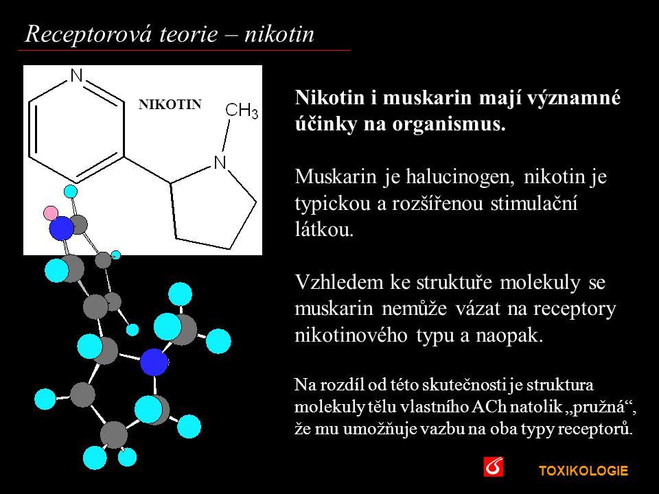 TOXIKOLOGIE VŠCHT Praha Receptorová teorie – nikotin Nikotin i muskarin mají významné účinky na organismus. Muskarin je halucinogen, nikotin je typick