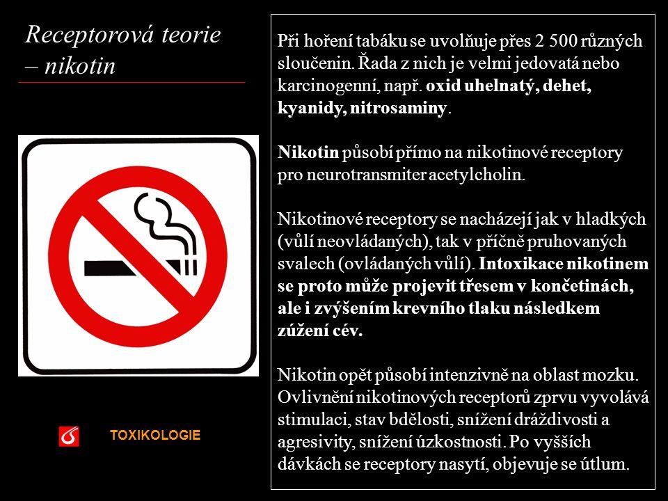 TOXIKOLOGIE VŠCHT Praha Receptorová teorie – nikotin Při hoření tabáku se uvolňuje přes 2 500 různých sloučenin. Řada z nich je velmi jedovatá nebo ka