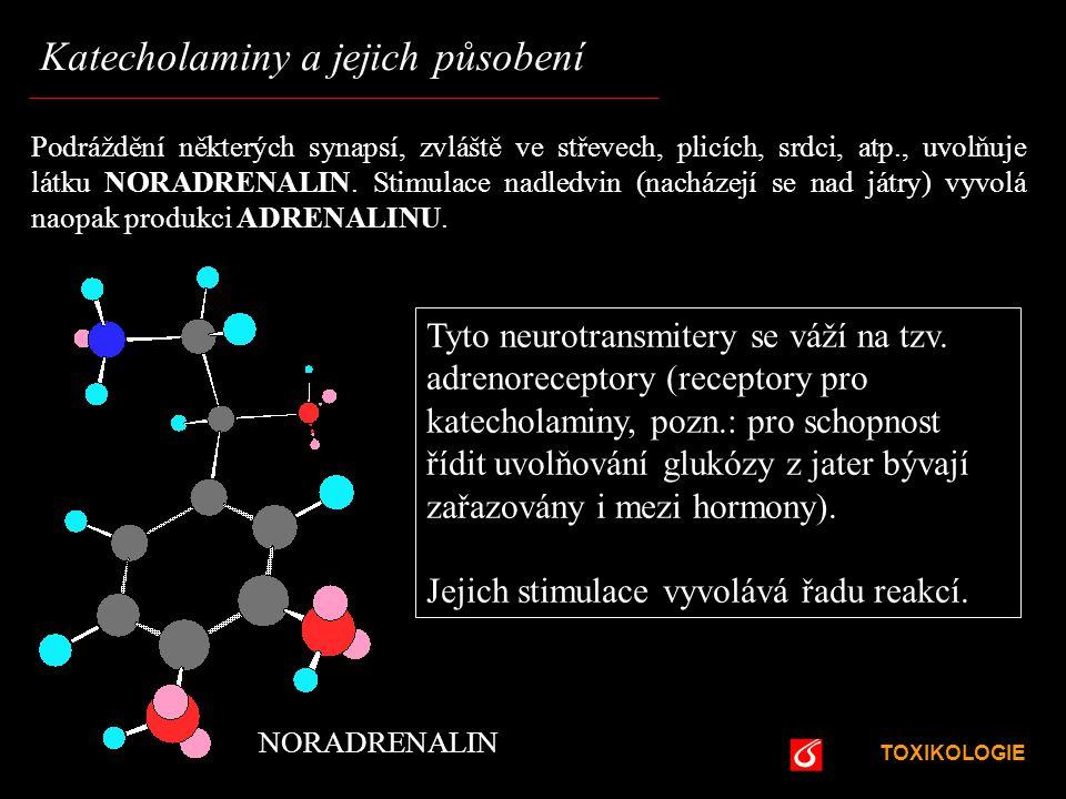 TOXIKOLOGIE VŠCHT Praha Katecholaminy a jejich působení Podráždění některých synapsí, zvláště ve střevech, plicích, srdci, atp., uvolňuje látku NORADR
