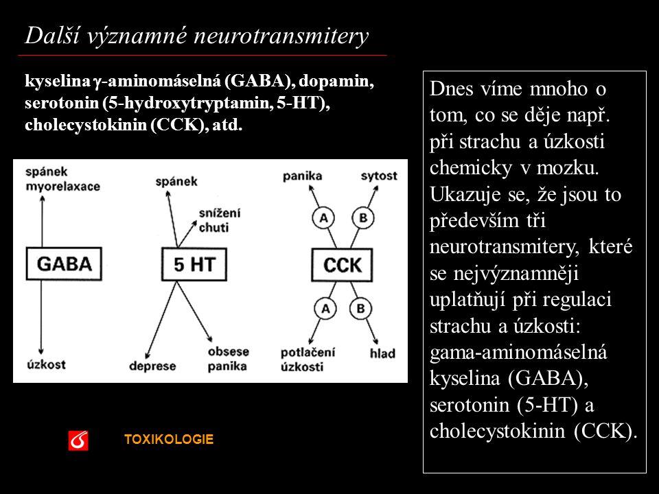 TOXIKOLOGIE VŠCHT Praha Další významné neurotransmitery kyselina  -aminomáselná (GABA), dopamin, serotonin (5-hydroxytryptamin, 5-HT), cholecystokini
