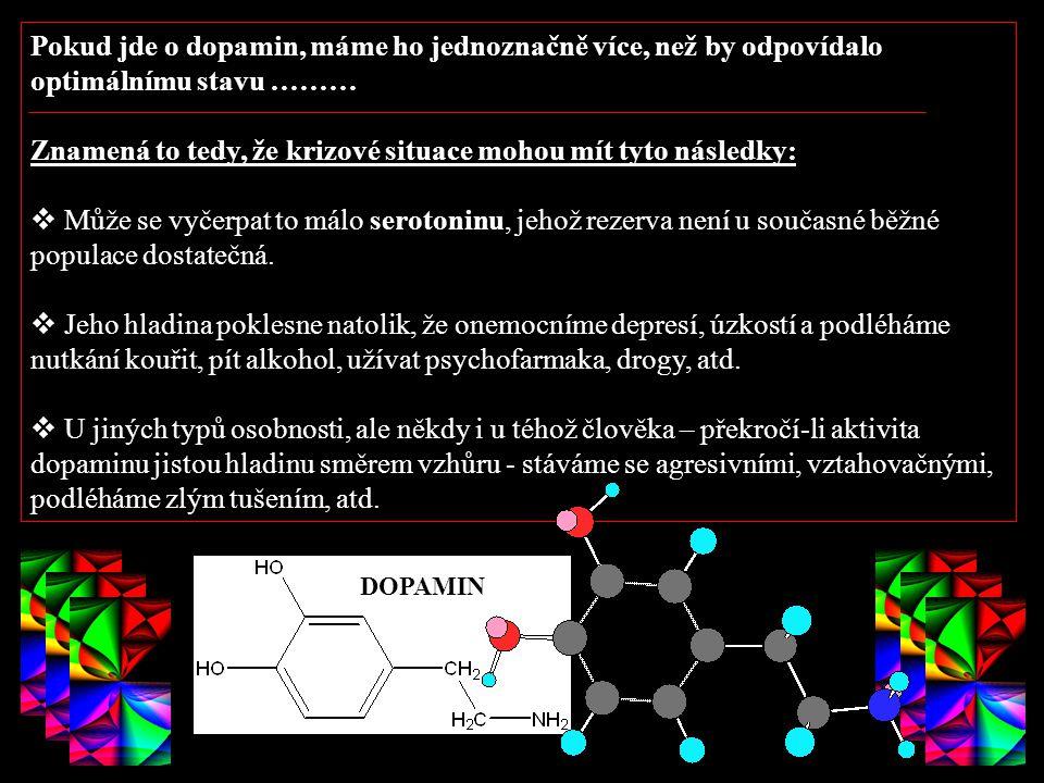 VŠCHT Praha Pokud jde o dopamin, máme ho jednoznačně více, než by odpovídalo optimálnímu stavu ……… Znamená to tedy, že krizové situace mohou mít tyto