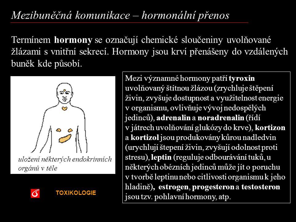 TOXIKOLOGIE VŠCHT Praha Mezibuněčná komunikace – hormonální přenos Termínem hormony se označují chemické sloučeniny uvolňované žlázami s vnitřní sekre