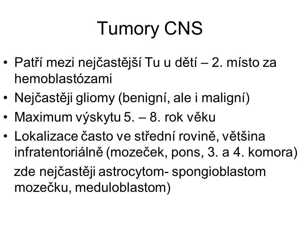 Tumory CNS Patří mezi nejčastější Tu u dětí – 2. místo za hemoblastózami Nejčastěji gliomy (benigní, ale i maligní) Maximum výskytu 5. – 8. rok věku L