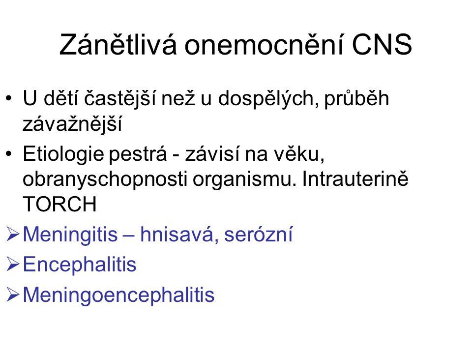 Zánětlivá onemocnění CNS U dětí častější než u dospělých, průběh závažnější Etiologie pestrá - závisí na věku, obranyschopnosti organismu.