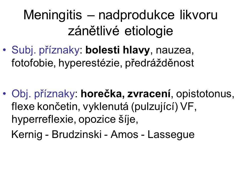 Meningitis – nadprodukce likvoru zánětlivé etiologie Subj. příznaky: bolesti hlavy, nauzea, fotofobie, hyperestézie, předrážděnost Obj. příznaky: hore