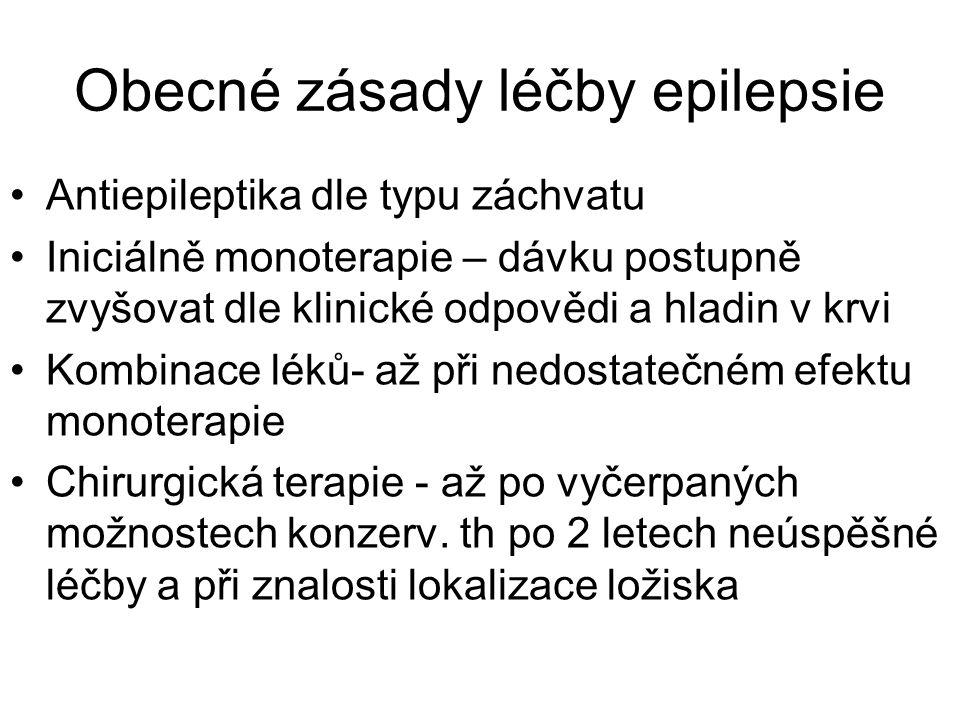 Obecné zásady léčby epilepsie Antiepileptika dle typu záchvatu Iniciálně monoterapie – dávku postupně zvyšovat dle klinické odpovědi a hladin v krvi Kombinace léků- až při nedostatečném efektu monoterapie Chirurgická terapie - až po vyčerpaných možnostech konzerv.
