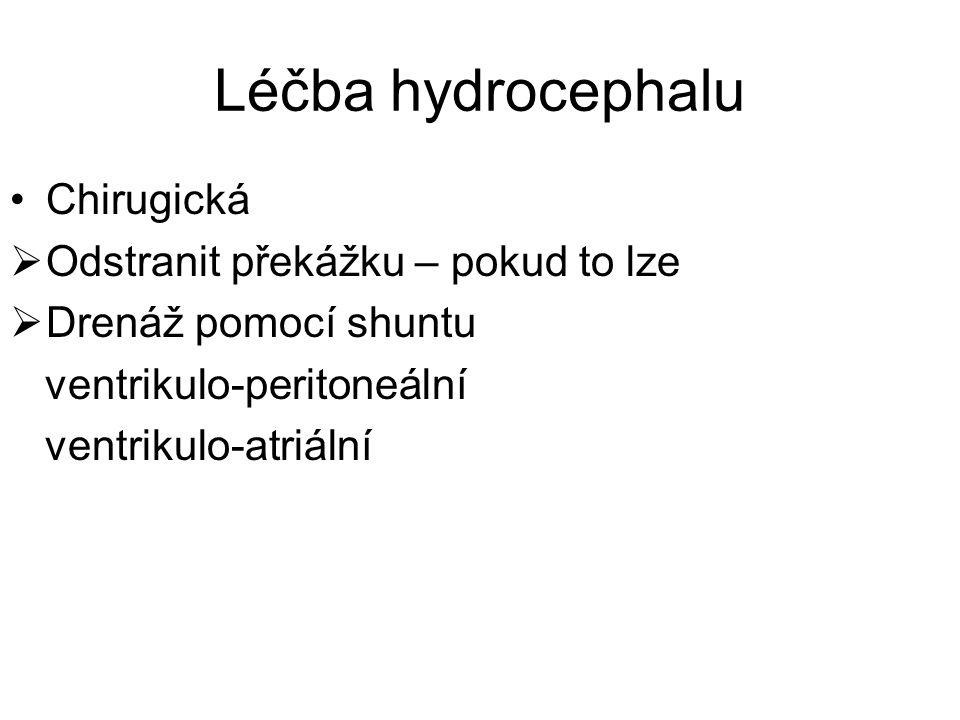 Léčba hydrocephalu Chirugická  Odstranit překážku – pokud to lze  Drenáž pomocí shuntu ventrikulo-peritoneální ventrikulo-atriální