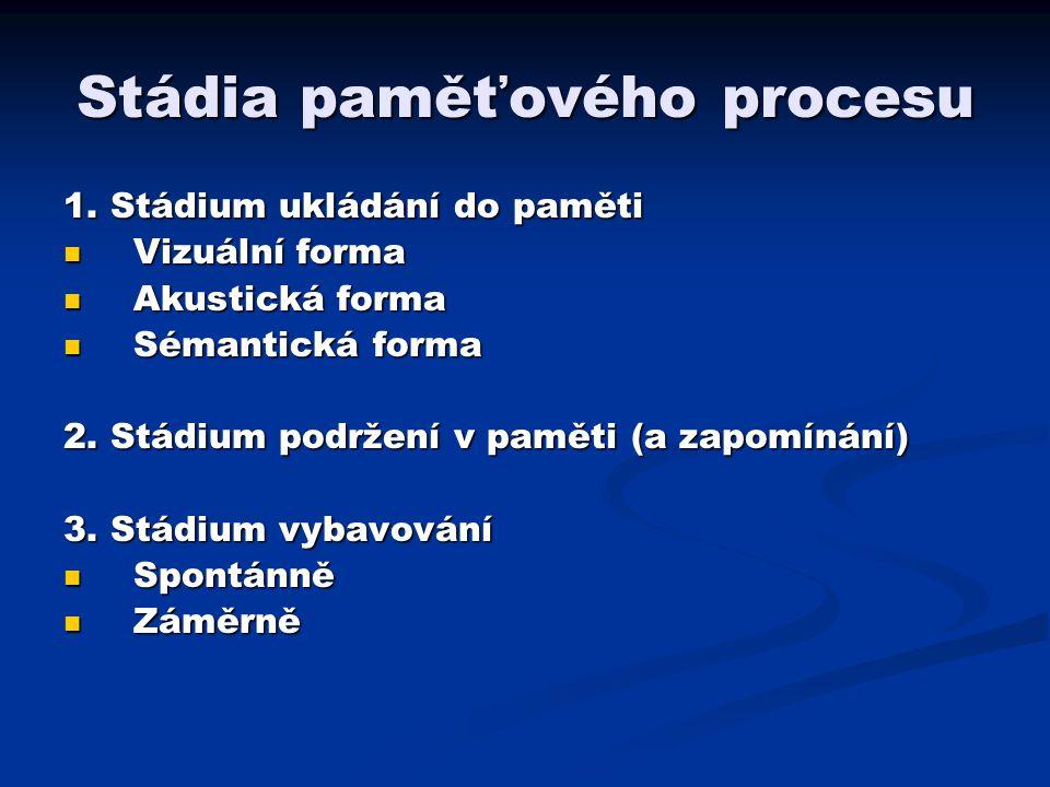 Stádia paměťového procesu 1. Stádium ukládání do paměti Vizuální forma Vizuální forma Akustická forma Akustická forma Sémantická forma Sémantická form